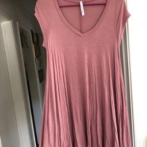 Mauve Flowy Tee Shirt Dress